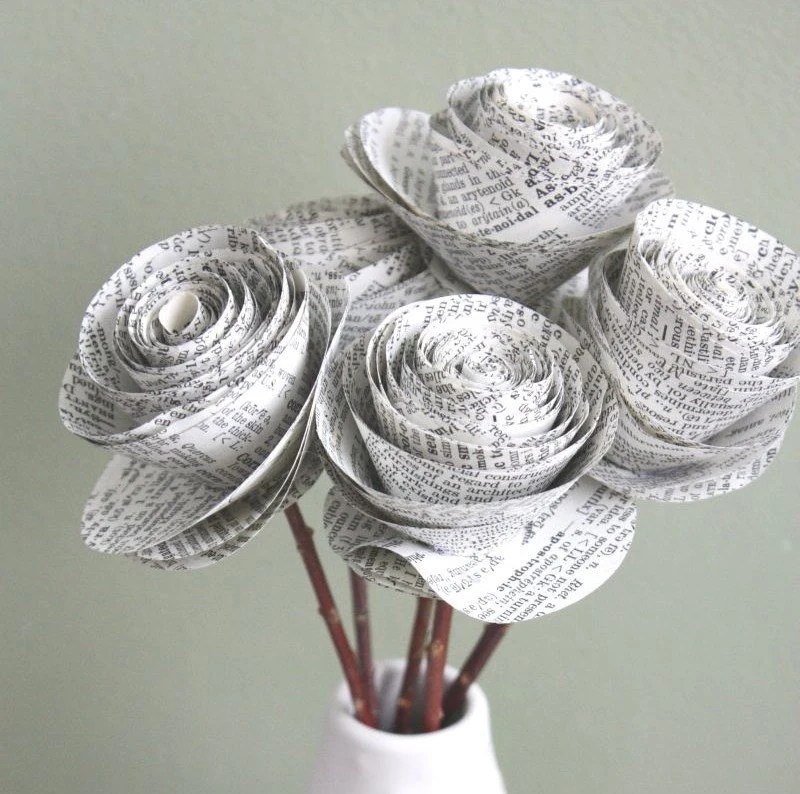 paper roses. repurposed dictionary.  large. set of 5