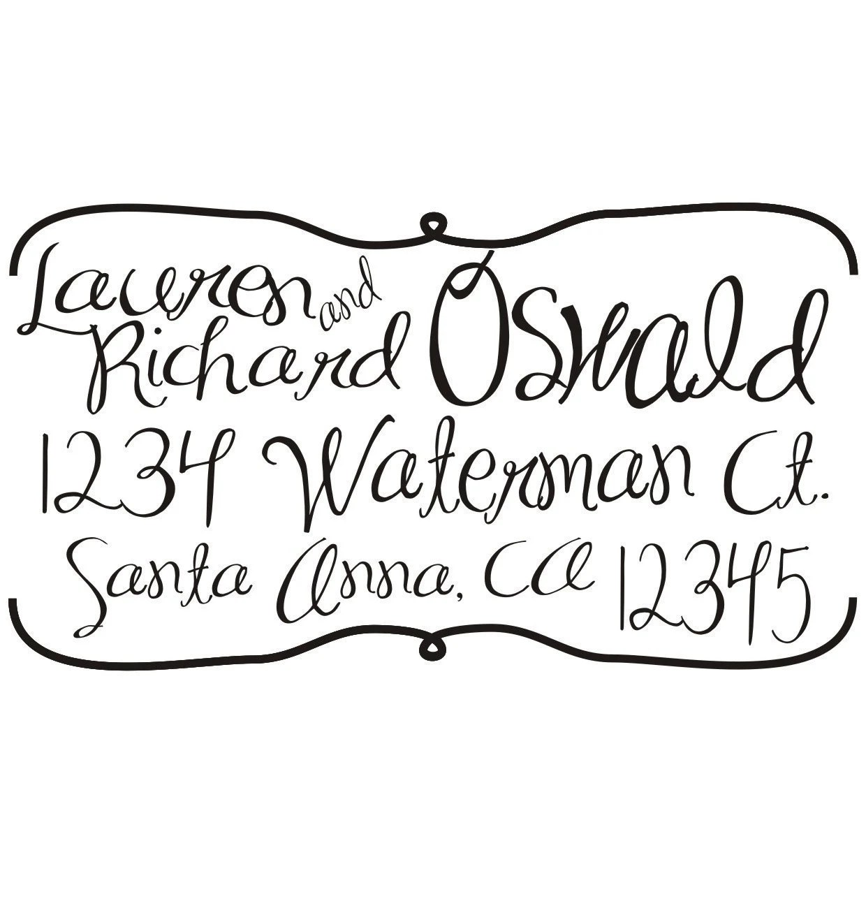Custom Return Address Rubber Stamp with a handwritten script font self inking