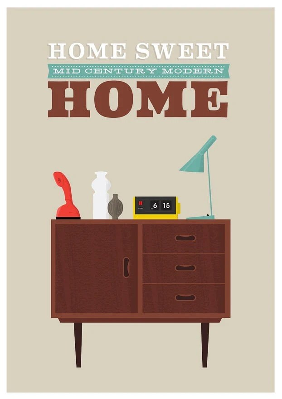 Mid Century Modern Print Danish Modern retro art    Typography  print   -  Home Sweet Home  - A3 retro