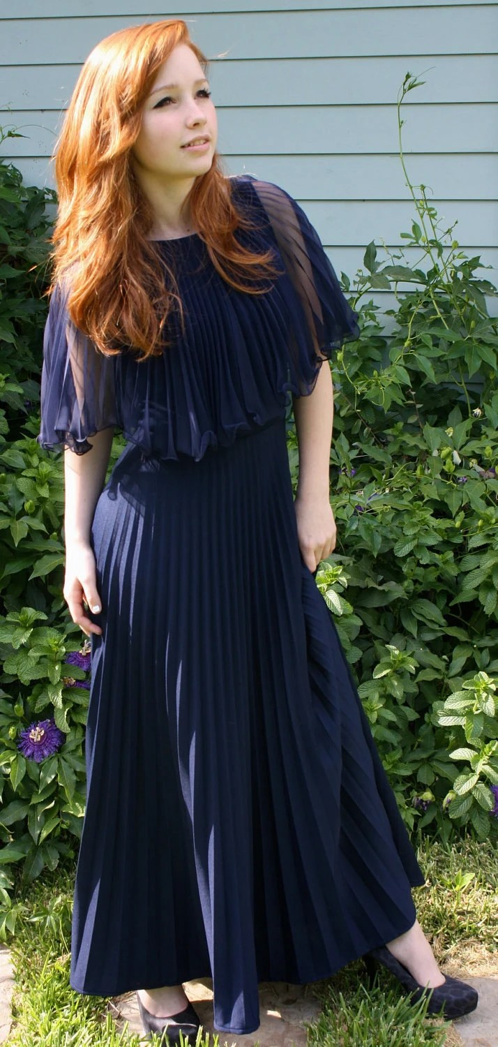 Vintage Duke Blue Accordion Pleat Maxi Dress w Sheer Cape Collar - S