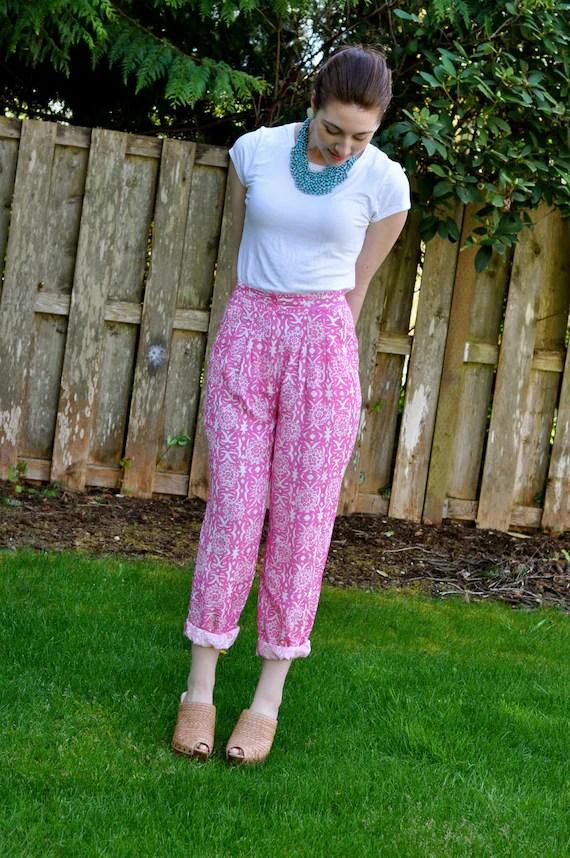 80's 'Palm Beach Pink' Floral Print Nordstrom High Waist Pants (Size: Medium/Large)