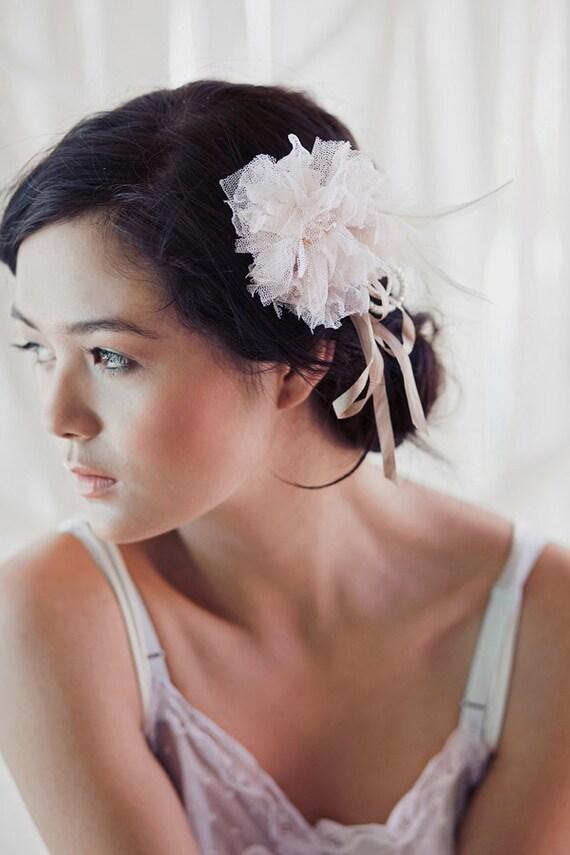 Silk tulle tattered blossom comb- The Mathilde