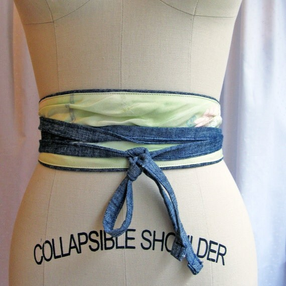 Reversible eco Obi belt - mint  / organic denim - Sale