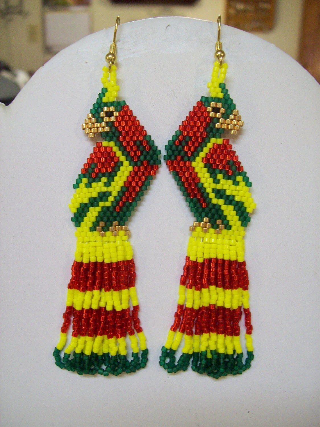 Naive America Beaded Red, Green and Yellow Parrot Earrings