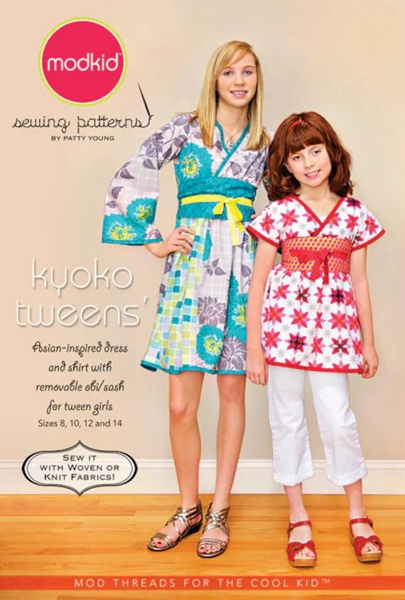 LAST ONE - Patty Young ModKid Patterns - Kyoko Tweens Dress & Shirt Pattern - Sizes 8, 10, 12 and 14