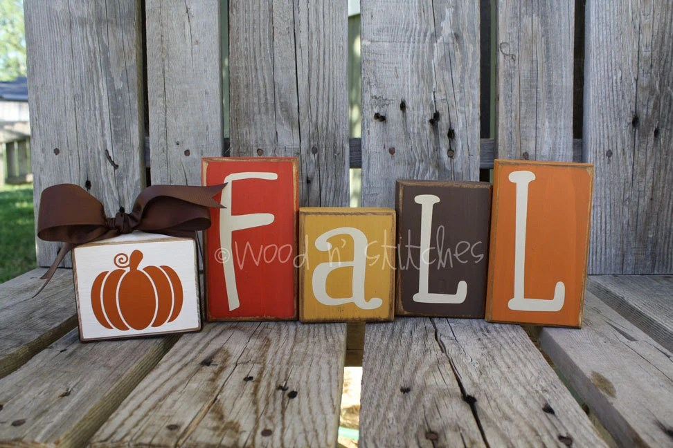 Primitive FALL Pumpkin Wood Block Set . . . fall autumn home decor seasonal pumpkin personalized wood block set