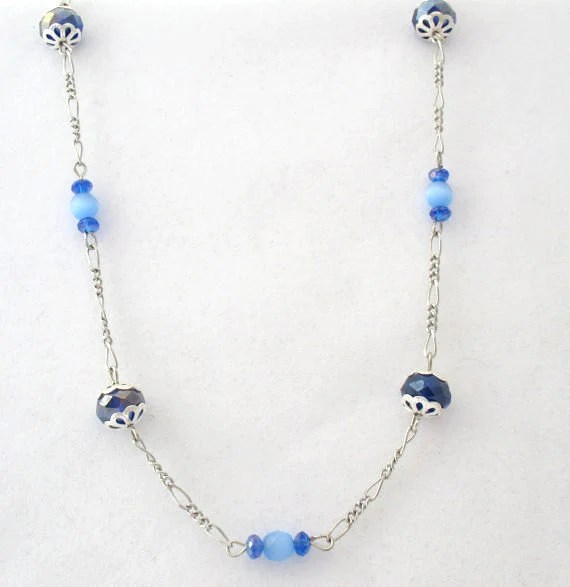 Long Chain Necklace - Blue Beads, Silvertone Figaro Chain