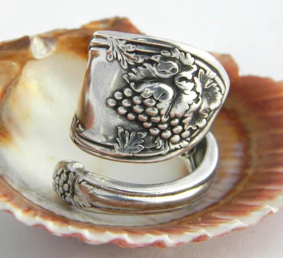 Spoon Ring, Antique Silverware Jewelry,  La Vigne 1908