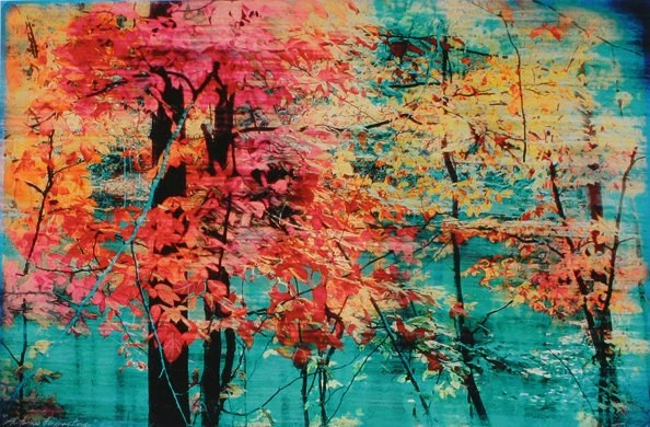 Autumn tapestry,Original Signed Fine Art altered photograph with painting and drawing 11x17 inches