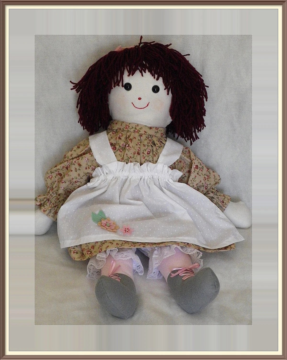 Cloth doll, Art Doll, Rag Doll, redhead, apron, dress, ditsy print, OOAK,  Uk seller
