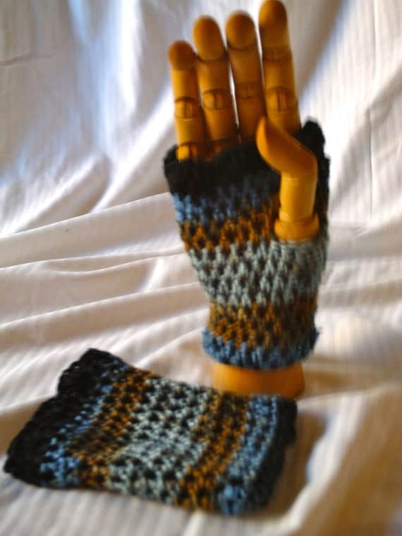 Blue and Brown Fingerless Gloves - $15.00