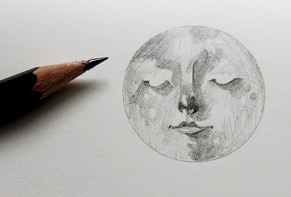 Moleskine cahier detail drawing - Full Moon