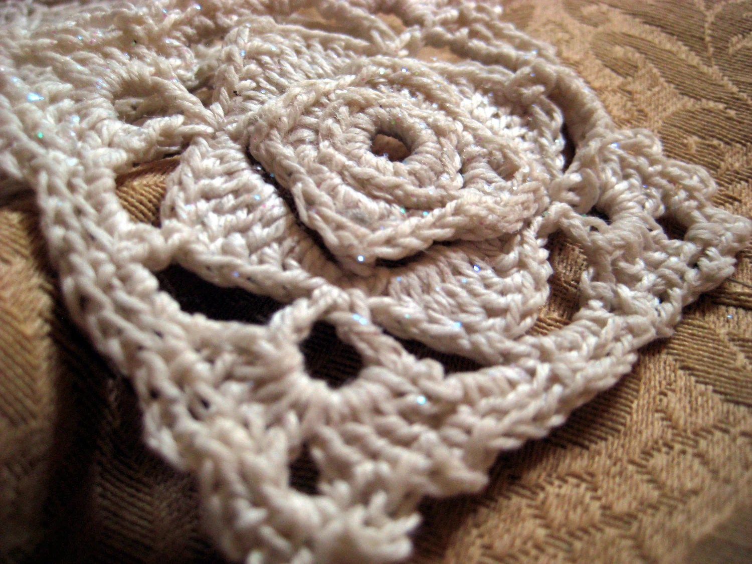 Pair of Ecru Crochet Lace Ornaments