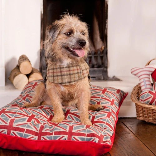 Small Luxury Union Jack Dog Bed
