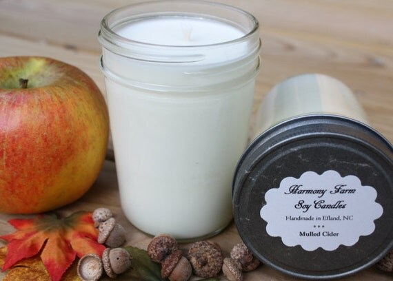 Mulled Cider Soy Wax Candle in 8 oz. Jelly Jar