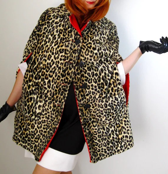 1950s Faux Fur Animal Print Leopard Red Wool Cape Coat Reversible Tribal Fall Fashion Autumn Clothing