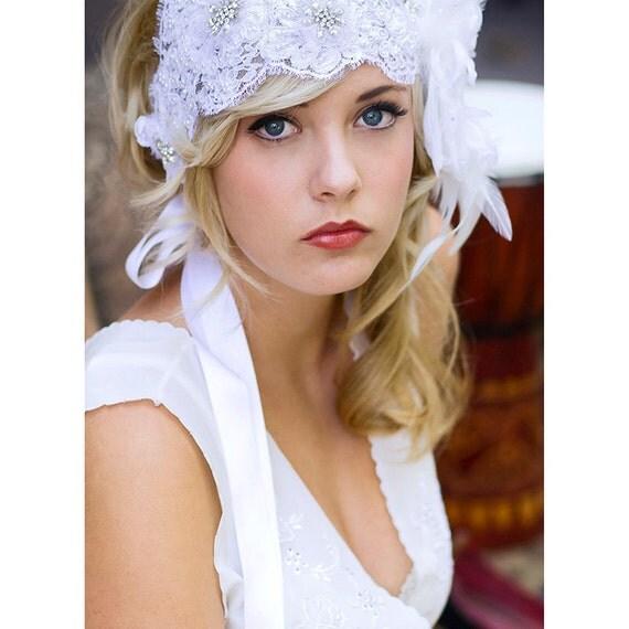 Lace Bridal Cap Headband 1920's Vintage Style