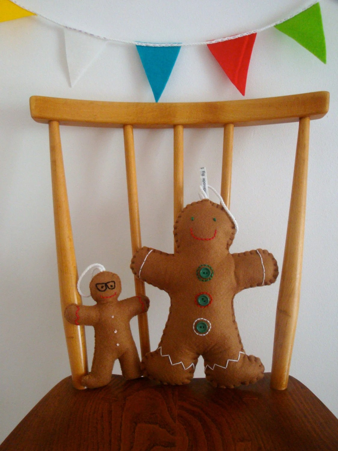 Giant Gingerbread Man Felt Plush Christmas Decoration // Mr Gary G.Bread // Original Design Decoration