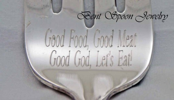 Vintage Engraved Meat Serving Fork,  Good Food, Good Meat, Good God, Lets Eat