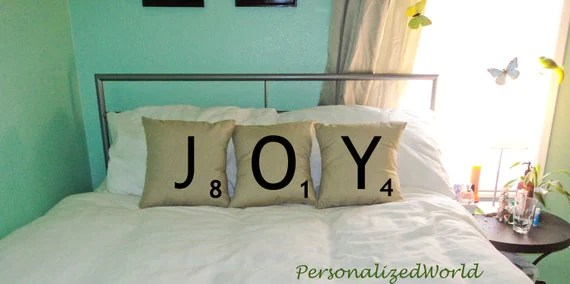 Set of 3 SCRABBLE LETTER decorative christmas pillow cases cushion covers -- JOY or choose any 3 letters - PersonalizedWorld