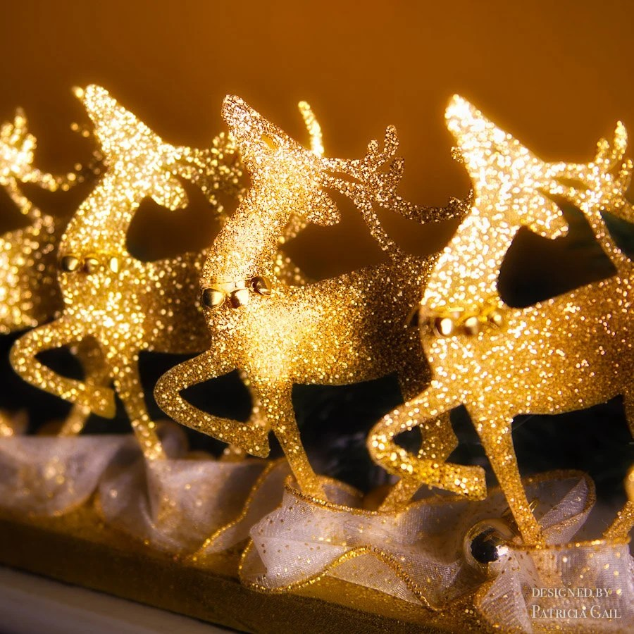 Christmas Reindeer Rockettes Mantel or Table Display in Gold