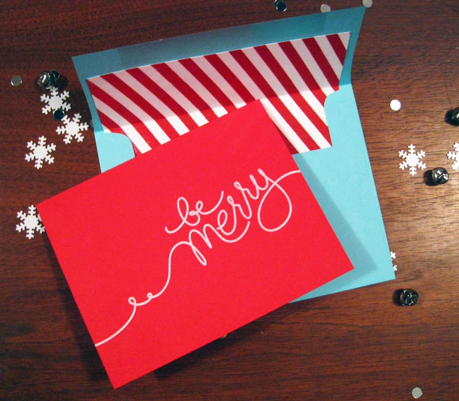 Be Merry holiday card (red/turquoise)