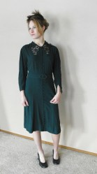 Vintage 30s Green Dress Lace Collar Smocked Holiday Christmas L XL