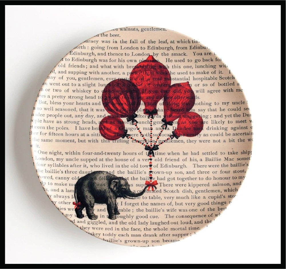 Elephant with Hot Air Balloon Plate by BlackBaroque