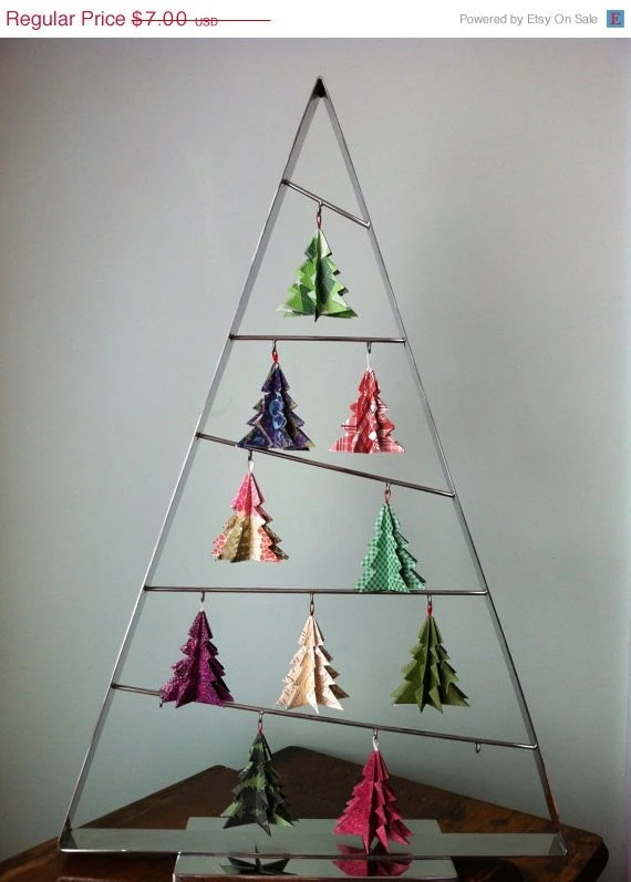 Origami Christmas Tree Ornaments (Merry) - SIx Ornaments
