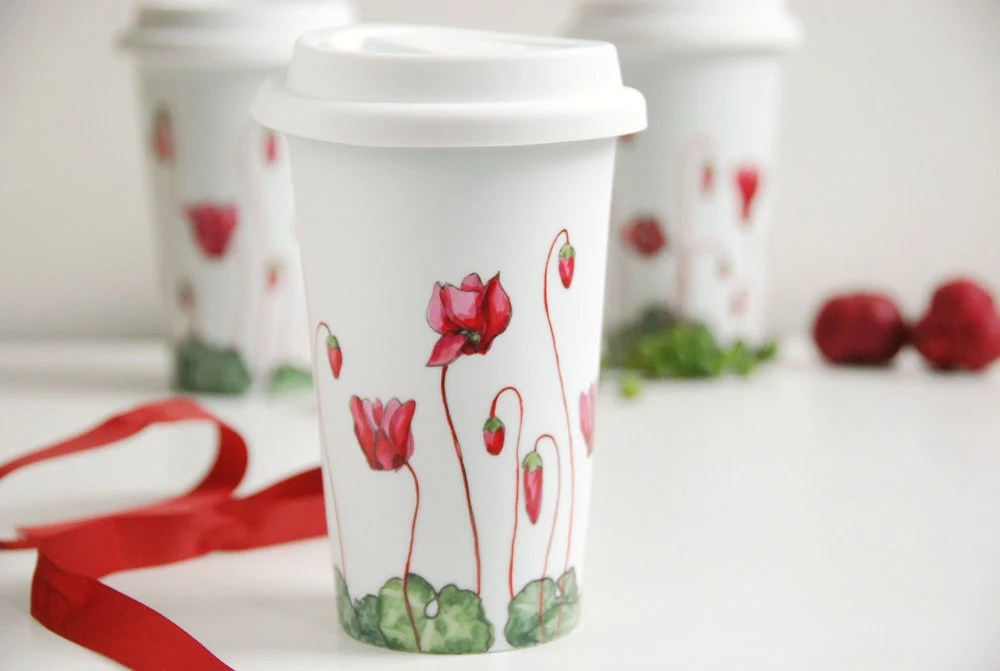 Ceramic Eco-Friendly Travel Mug - Cyclamen, Botanical Collection
