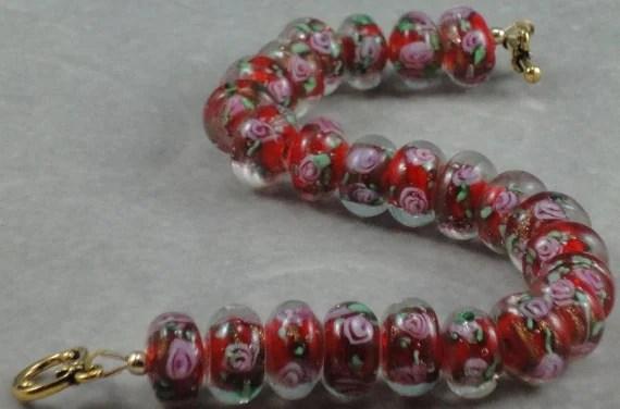Red Christmas Rose Bracelet