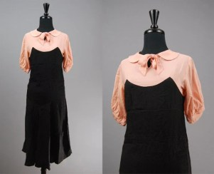 1930s dress silk rayon pink and black small