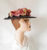 1930s tilt hat, vintage 30s hat, boater with flocked flowers