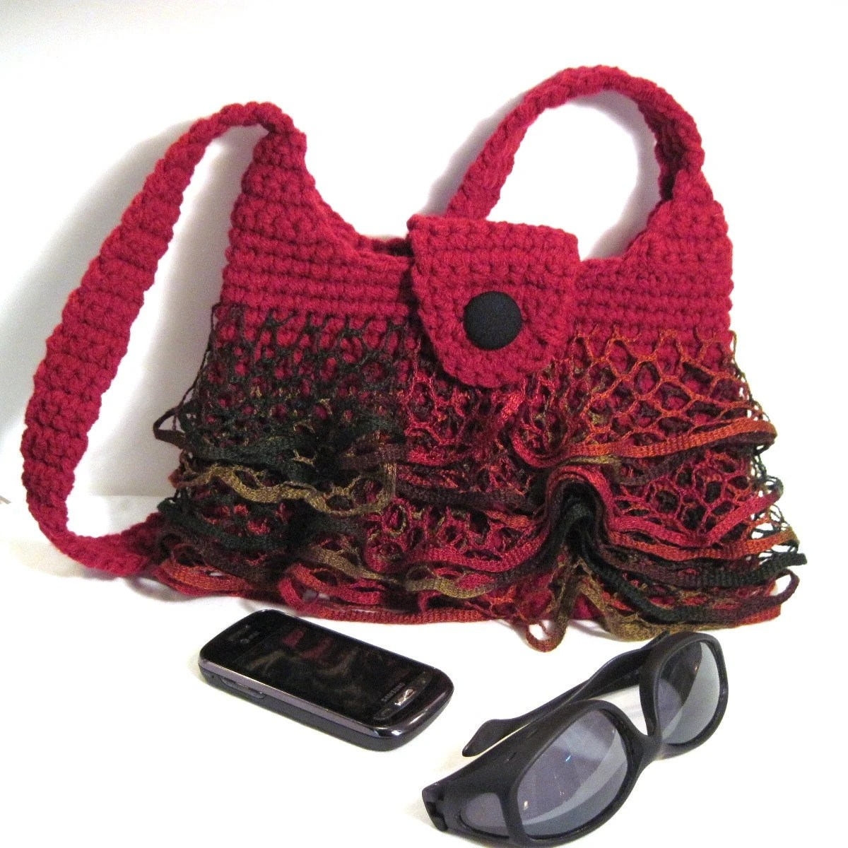 Red Ruffle Skirt Purse Fishnet Crochet Christmas Gift