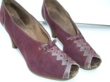Shoes 1939 Vintage Wedding Shoes Worn 1939 Suede And Leather Deep Plum Burgundy Color