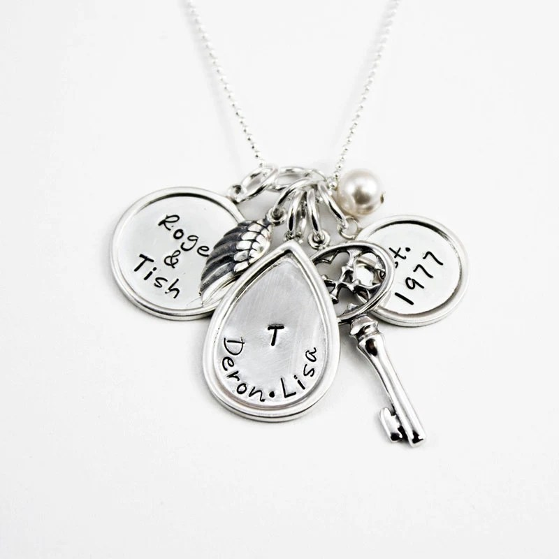 Cherished with Key - Hand Stamped Necklace