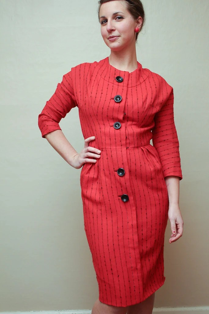red fitted 50s dress / mad men / small / medium