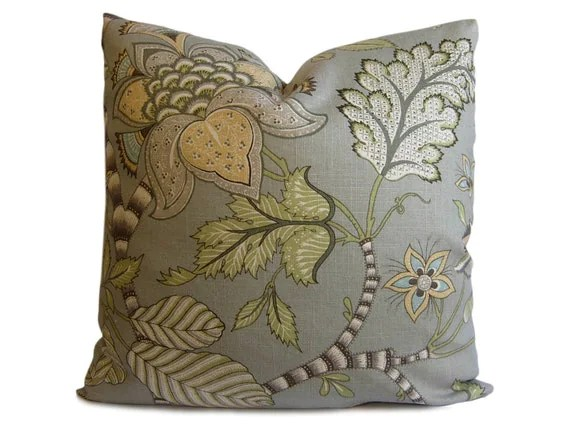 Decorative Pillow Cover - Floral Pillow in Gray, Green and Taupe - Accent Pillow - Throw Pillow - Pillow Cover