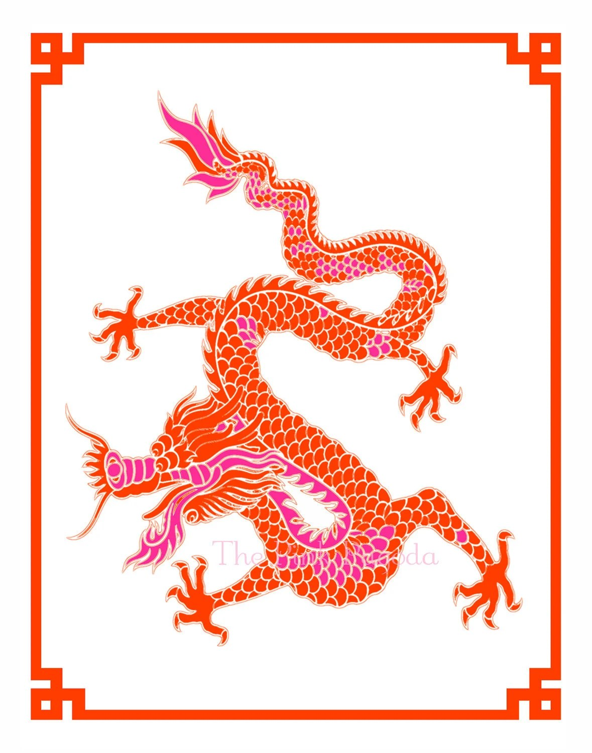 Tangerine and Hot Pink Chinese New Year Dragon Giclee 8x10