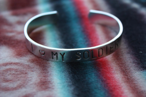 I LOVE MY SOLDIER Hand Stamped Metal Cuff Bracelet