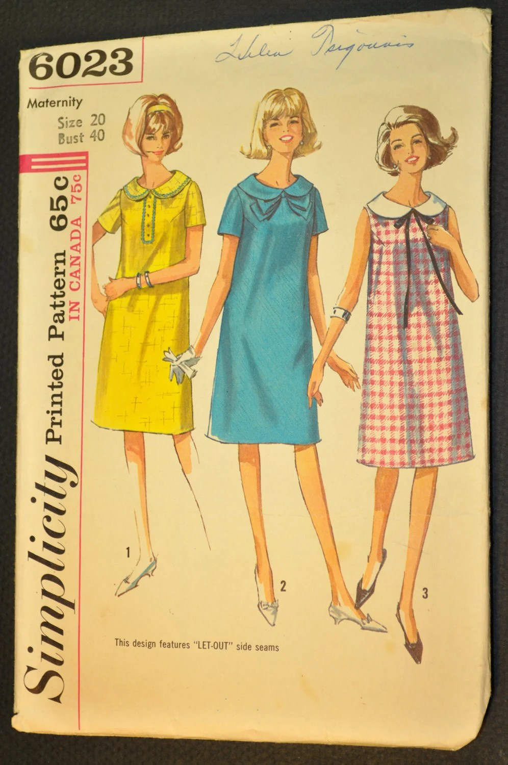 Maternity One-Piece Dress in Misses' Sizes, Vintage 1965 Sewing Pattern- Simplicity 6023