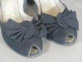 vintage 1940S heel by Delmanette navy blue peep toe suede shoe