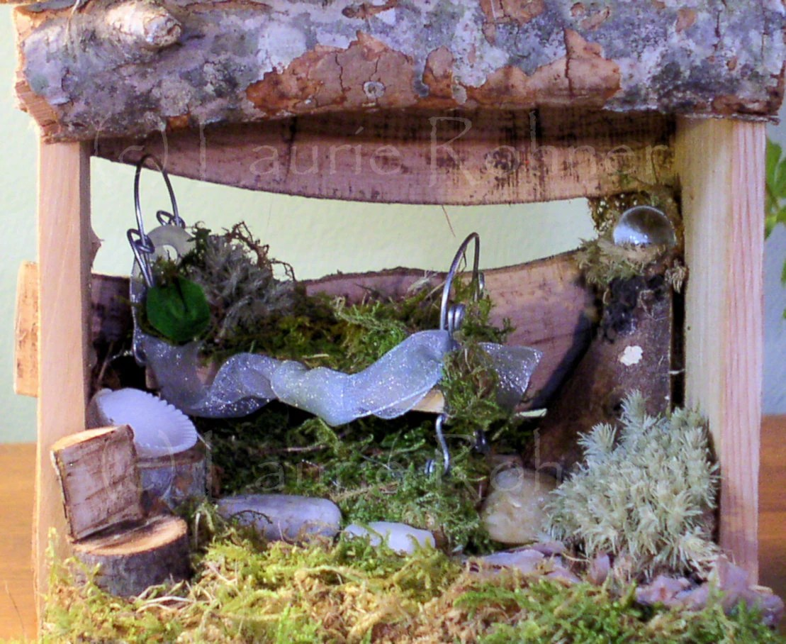 Woodland Fairy Bedroom House Furnished with Bed and Chair