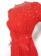 Siren Sweetheart Vintage 1940's Red Dress, Sz S