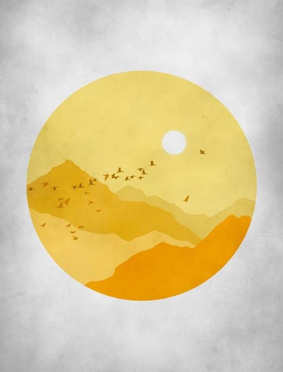 Mid Century Art Print, Orange Yellow Grey, Sunshine, Mountains Abstract Landscape, Bird print - evesand