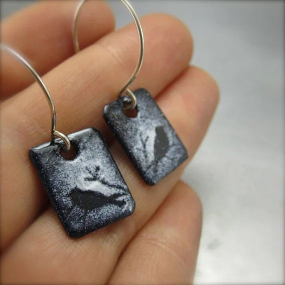 Enameled Bird Earrings by Beth Millner