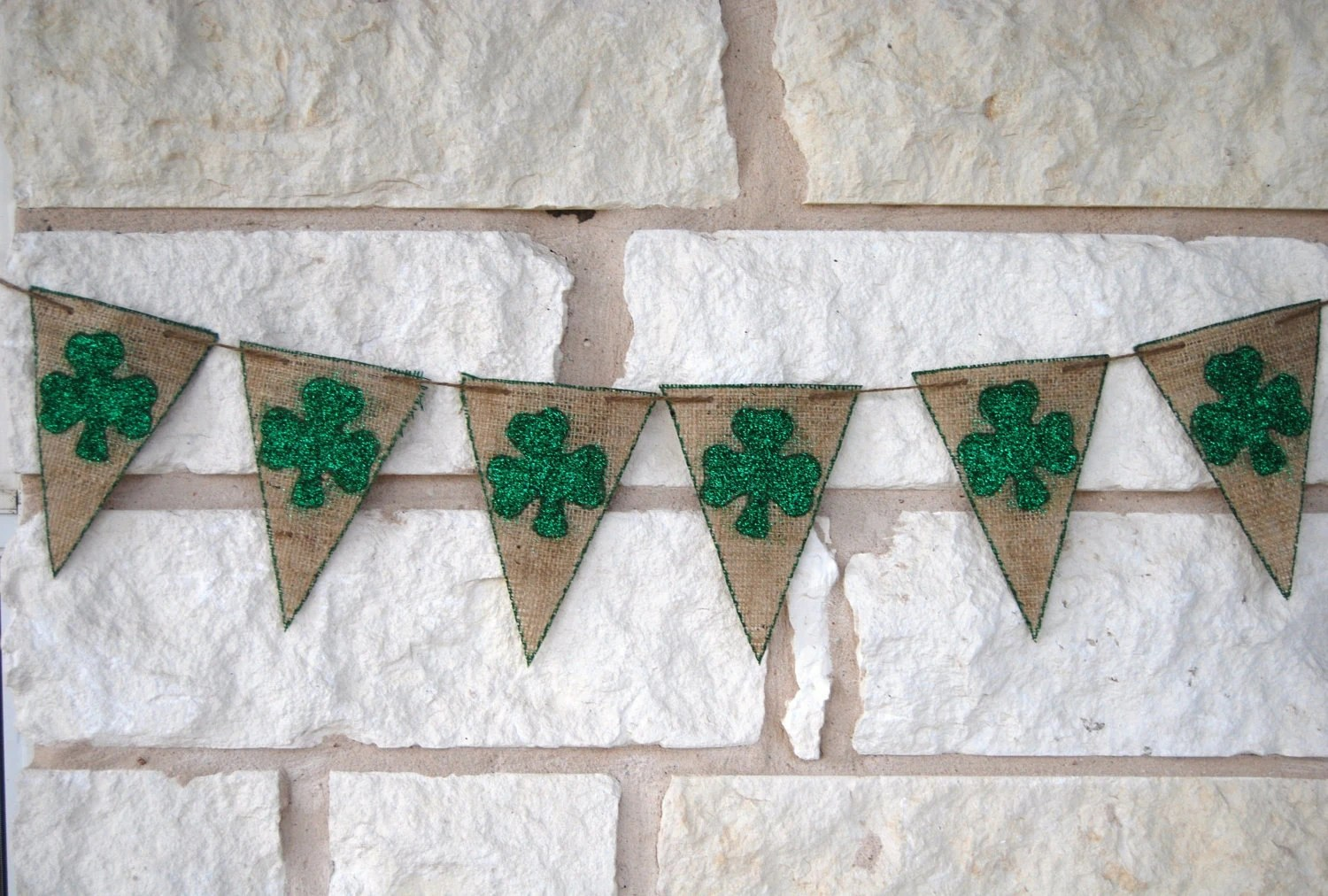 St Patricks Day Banner Decoration Green Burlap perfect for photo prop or party decor