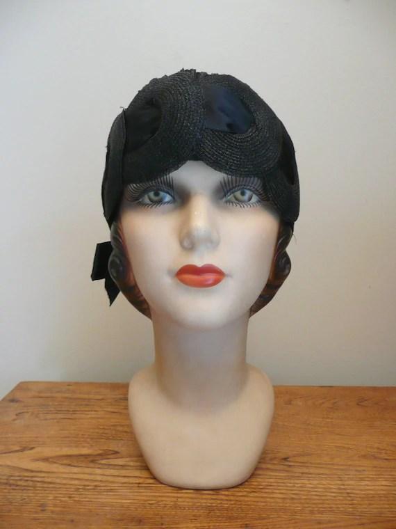 Vintage 1920s 1930s NOS NWT Black Flapper Hat