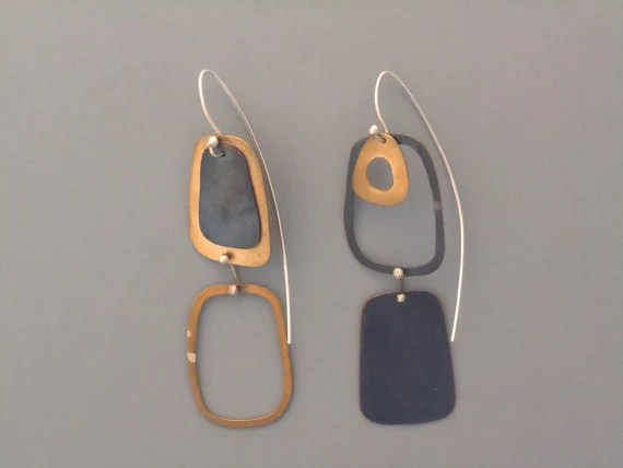 Handmade jewelry. Brass, sterling silver and blackened copper drop earrings. Modern