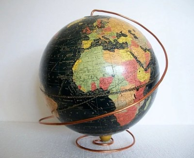 Vintage Pre WWII Globe - 1936 - Early Black Oceans with Handmade Deco Copper Base